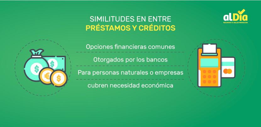similitudes entre préstamos y créditos